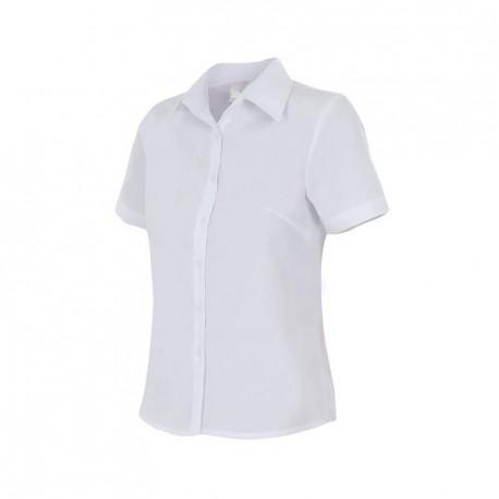 Camisa señora entallada manga corta, de popelín.