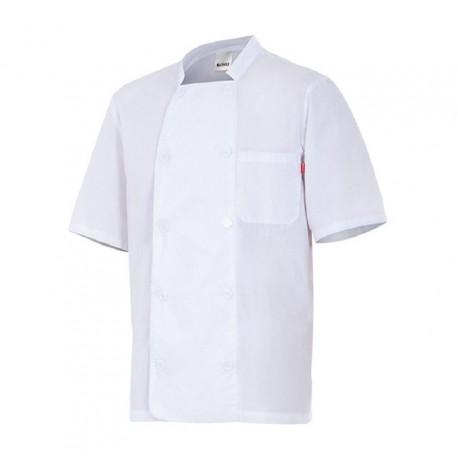 Chaqueta de cocinero manga corta, sarga Teflon