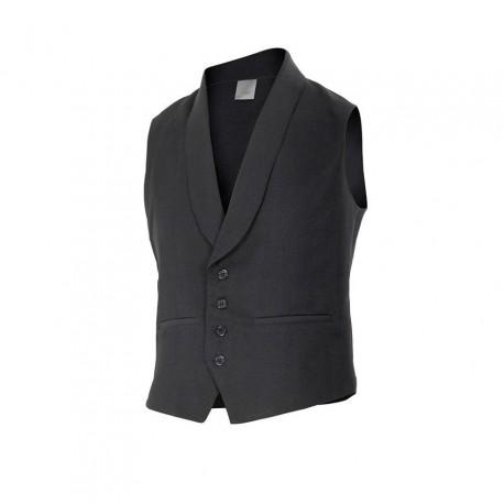 Chaleco camarero de cuello esmoquin, dos bolsillos de vivos y uno interior. solapas, espalda y bolsillos en color negro.