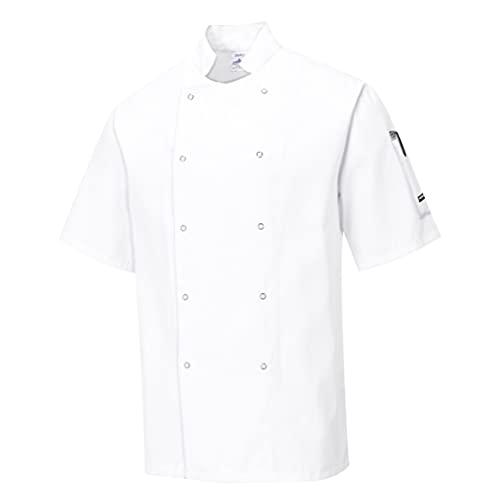 Portwest Chaqueta de Chef Cumbria, Color: Blanco, Talla: L, C733WHRL