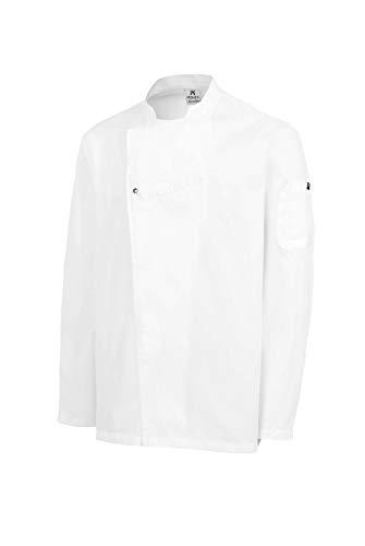 Chaquetilla Cocinero Hombre de Manga Larga con Corchetes. Ropa Cocina/Hostelería. Color Blanco. Talla L. Ref: 4122