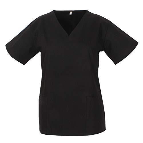 MISEMIYA - Casaca Cuello REFORMADO Manga Corta Uniforme Laboral CLINICA Hospital Limpieza Médico Enfermera - Ref.Q818 - S, Negro