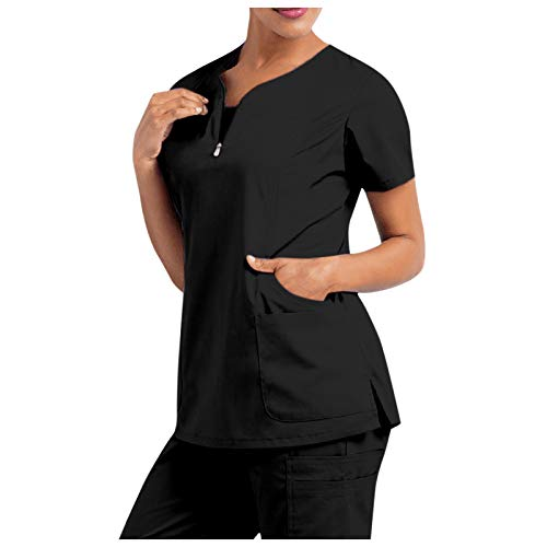 Blusa con Cuello en V de Manga Corta para Mujer Blusa de Bolsillo de Color sólido/impresión Uniforme de Trabajo
