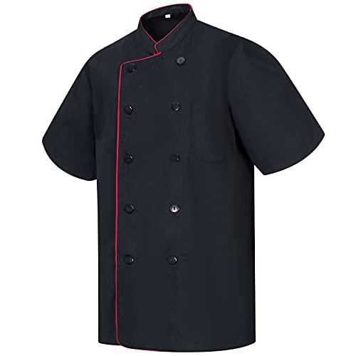 MISEMIYA - Chaquetas Chef Cocinero con BOTÓN REFORMADO MARMINTÓN SOLLASTRE GUISANDERO ADOBADOR Salsero - Ref.8421B - M, Negro