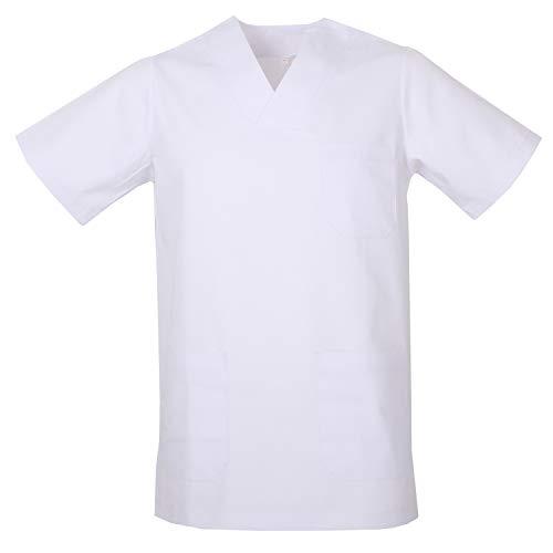 MISEMIYA - Casaca Unisex Cuello Pico Mangas Cortas Uniforme Laboral CLINICA Hospital Limpieza Veterinaria SANIDAD Médico Enferme - Ref.817 - M, Blanco
