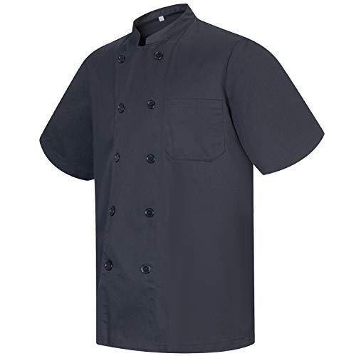 MISEMIYA - Chaqueta Cocinero Hombre Mangas Cortas MARMINTÓN, SOLLASTRE, GUISANDERO, ADOBADOR, Salsero, Ref.8421 - S, Negro