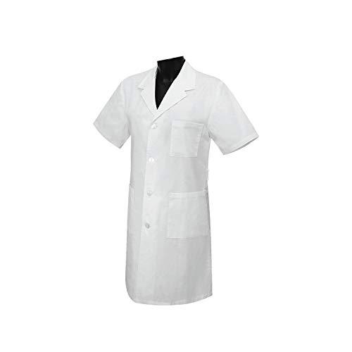 MISEMIYA - Bata Unisex Cuello Solapa Mangas Cortas Uniforme Laboral CLINICA Hospital Limpieza Veterinaria SANIDAD HOSTELERÍA - Ref:8162 - M, Blanco