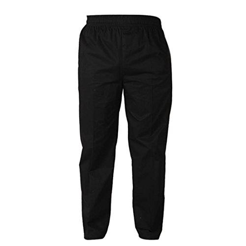 Freahap Trabaja Pantalones Pantalones de Chef Pantalones para camanero Negro Elástico L