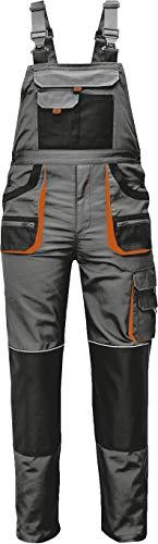 Stenso Des-Emerton - Pantalones con Peto de Trabajo para Hombre Slim fit - Gris/Negro/Naranja - 48