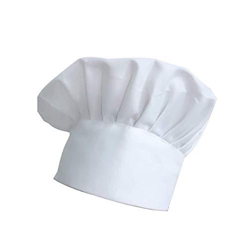 Gorro de chef, de tela ajustable elástico para cocina (blanco)