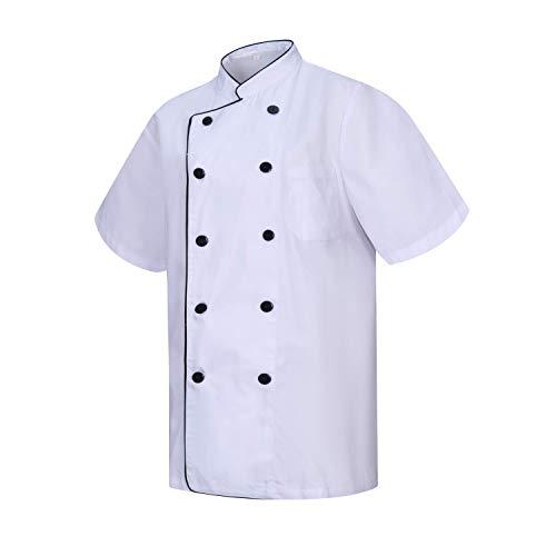 MISEMIYA - Chaquetas Chef Cocinero con BOTÓN REFORMADO MARMINTÓN SOLLASTRE GUISANDERO ADOBADOR Salsero - Ref.8421B - S, Blanco