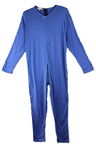 IUPITER Pijama entero sanitario para personas con cremallera, 100% algodón, manga larga turquesa M