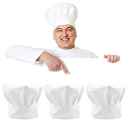 Chudian 3 pcs Sombrero de Cocina Gorro de Chef con Goma Elástica Sombrero de Chef Blanco para Cocinero Hombre y Mujer para Cocina, Hogar, Restaurante, Abastecimiento