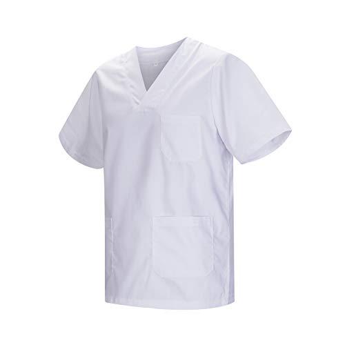 MISEMIYA - Casaca Unisex MÉDICO Enfermera Uniforme Limpieza Laboral ESTÉTICA Dentista Veterinaria Sanitario HOSTELERÍA - Ref.817 - M, Blanco