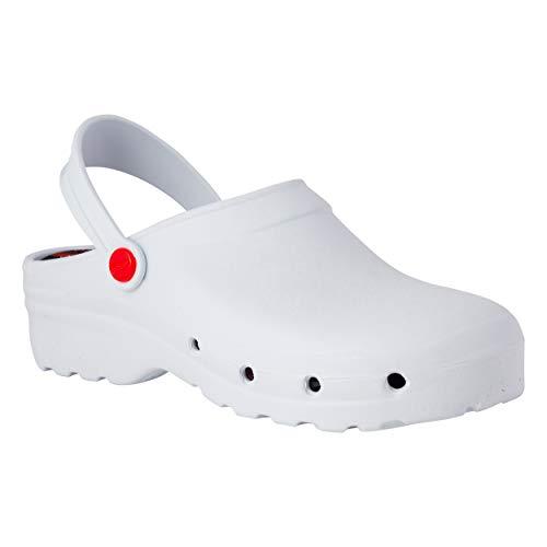 REPOSA Light Shock Zuecos Sanitarios, Zapatos de enfermería, Material eva Zapatos Sanitarios cómodos con capellada Superior Cerrada, Agujeros Laterales, Plantilla anatómica (Blanco, Numeric_38)