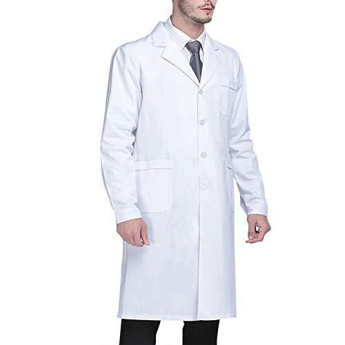 Beautyshow Bata de Laboratorio, Ropa de Médico Bata de Laboratorio para Hombres y Mujeres, Uniformes Sanitarios de Laboratorio Blancos Unisex Ropa de Trabajo Blanca con Ropa Médica de Manga Larga