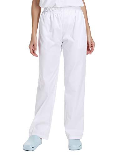 WWOO Pantalones mujer blancos Pantalones de trabajo uniformes Cintura elástica Material profesional suelto Delgado XXXL
