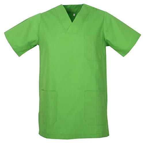 MISEMIYA - Casaca Unisex Cuello Pico Mangas Cortas Uniforme Laboral CLINICA Hospital Limpieza Veterinaria SANIDAD Médico Enferme - Ref.817 - S, Verde Manzana