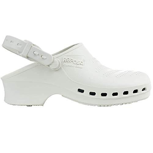 Zuecos Sanitarios de Trabajo Reposa • Zuecos Mujer y Hombre con Suela de Goma Antideslizante • Zapatos para Enfermería Y Hostelería • Talla 41 • Color Blanco