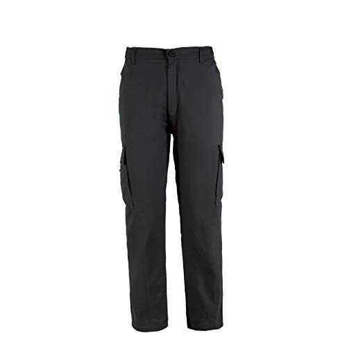 Pantalón de Trabajo para Adulto Blanco/Negro/Gris/Azul Marino Uniforme Laboral (XXXL, Negro)