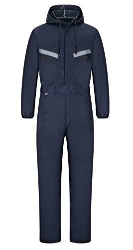 yukirtiq Hombre Pantalones con Peto de Trabajo para jardín y Garaje, Encapuchado Mono de Trabajo Mecánico o Industria Cintas Reflectantes Resistente al Aceite para Mecánicos (L, Armada)