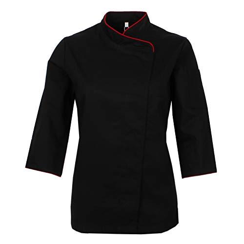 MISEMIYA - Chaquetas Uniformes Chef COCINERA Bar Restaurante HOSTELERÍA Mangas LARGAS - Ref.703 - Medium, Negro