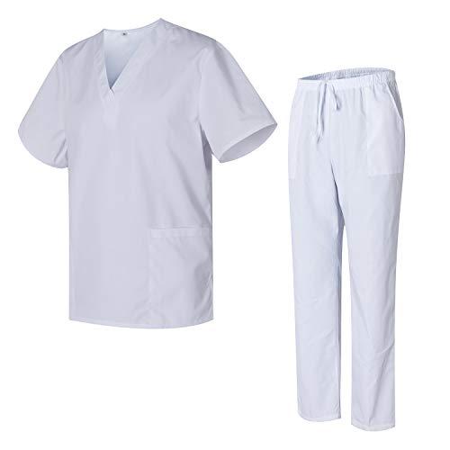 Uniformes Uno Médico Unisex con Casaca y Pantalones Sanitarios 301-501 - M, Blanco