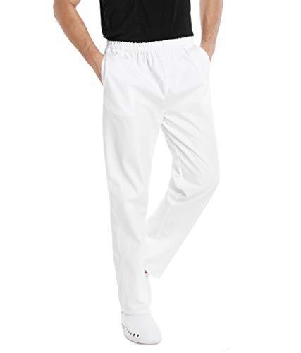 WWOO Pantalones Hombre  blancos Pantalones de trabajo uniformes de Cintura  elástica Material  profesional suelto Gruesa L