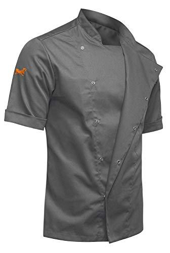 strongAnt® - Chaqueta Cocinero de Manga Corta. Uniforme de Chef Hombre. Ropa de Cocina. Tela de algodón/Tencel - Estilo Delgado, Ajuste Delgado - Hecho en EU - Gris S