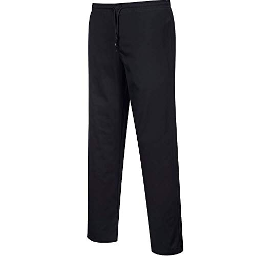 Pantalones de cocina repelentes al agua, color negro, talla XXL