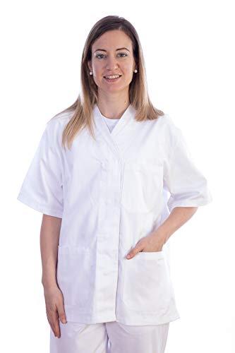 GIMA - Casaca de algodón y poliéster, Uniforme hospitalario, Color Blanco, Cuello en V, Media Manga, 5 Botones, para Mujer, Talla M, para médicos, Veterinarios, Enfermeras y Personal Sanitario.
