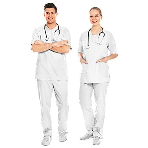 AIESI® Uniforme Sanitario Hombre Mujer de algodón 100% sanforizado Pantalones y Casaca con Cuello en V # Talla XL Blanco