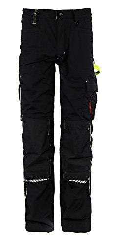 Stenso Prisma - Pantalones Cargo de Trabajo para Hombre - Resistentes y con numerosos Bolsillos - Negro/Verde EU58