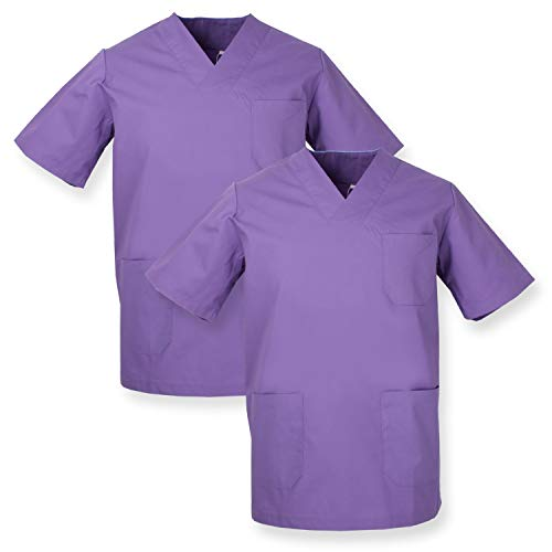 MISEMIYA - Pack*2 - Casaca Sanitarios Unisex Uniformes Sanitarios Cuello Pico Mangas Cortas Uniformes Laboratorios - Ref.817 * 2 - L, Lila