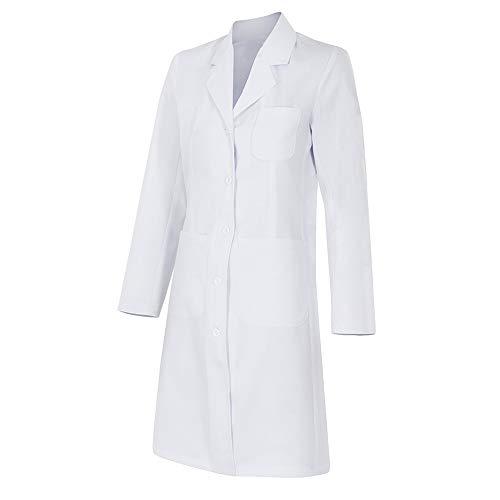 Bata de mujer manga larga con bolsillos y botones - para profesionales laboratario, medico, señora, uniformes, sanitario, trabajo - Color: Blanco (S)