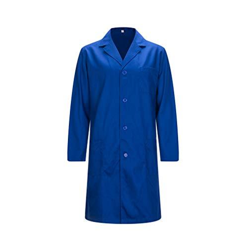 MISEMIYA - Bata Laboratorios Caballero Cuello Solapa con Manga Larga Uniforme Laboral CLINICA Hospital Limpieza Ref:816 - XL, Batas Laboratorios 816-5 Azulina