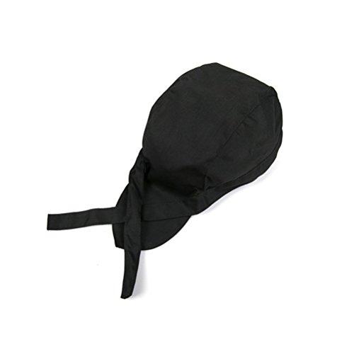 ULTNICE Sombrero de Cocineros Gorro de Cocina de Moda Cocina Gorro de cráneo Gorro de Cinta Turbante (Negro)