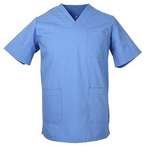 MISEMIYA - Casaca Unisex Cuello Pico Mangas Cortas Uniforme Laboral CLINICA Hospital Limpieza Veterinaria SANIDAD Médico Enferme - Ref.817 - M, Celeste