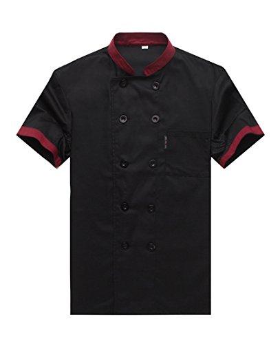 Camisa de Cocinero Cocina Uniforme Manga Corta Negro