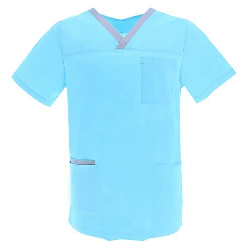 MISEMIYA - Casaca Unisex MÉDICO Enfermera Uniforme Limpieza Laboral ESTÉTICA Dentista Veterinaria Sanitario HOSTELERÍA - Ref.G713 - XXL, Azul Claro
