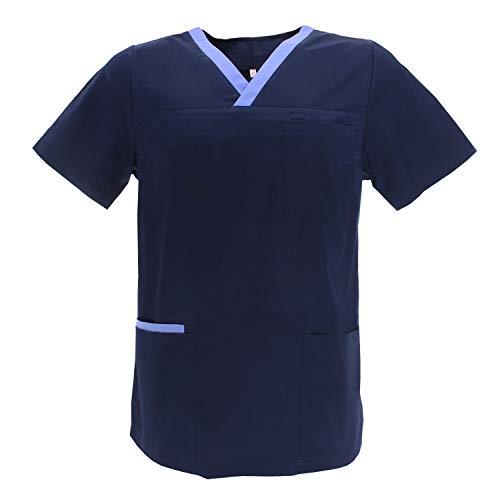 MISEMIYA - Casaca Unisex MÉDICO Enfermera Uniforme Limpieza Laboral ESTÉTICA Dentista Veterinaria Sanitario HOSTELERÍA - Ref.G713 - M, Azul Marino