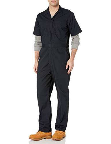 Amazon Essentials Stain & Wrinkle-Resistant Short-Sleeve Coverall Overalls-and-Coveralls-Workwear-Apparel, Negro, Large-30 Inseam