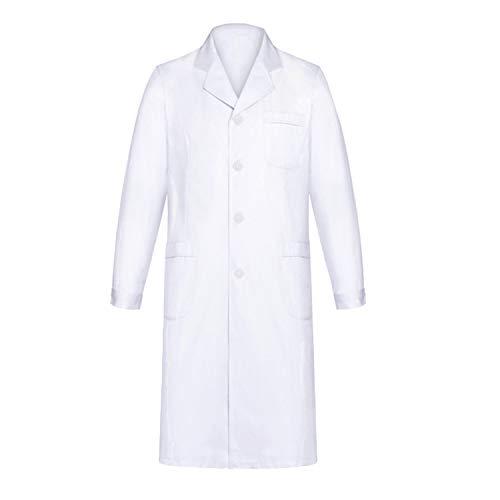 Yulang Bata Laboratorio, Bata Médico Blanco para Hombres Mujeres, Bata de Laboratorio Estudiante, Uniformes Bata Sanitarios Blancos, Unisexo Ropa Médica de Manga Larga Ropa de Trabajo