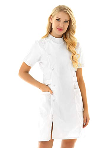 Freebily Bata de Trabajo para Peluquería Estética de SPA Uniforme Sanitario Empleados Profesional Elegante Casaca Ligero con Bolsillo Disfraces Adultos de Médico Enfermera Blanco Large