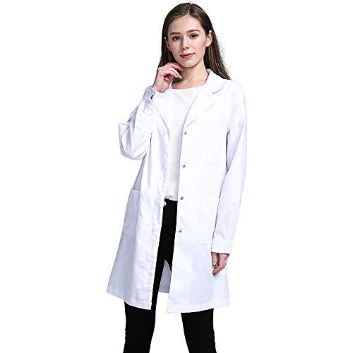 Icertag Bata de Laboratorio, médico Abrigo Abrigo de Mujer, Abrigo Blanco para Damas, Adecuado para Estudiantes de la Escuela Laboratorio de Ciencia Enfermera Cosplay Vestido de algodón (Medium)