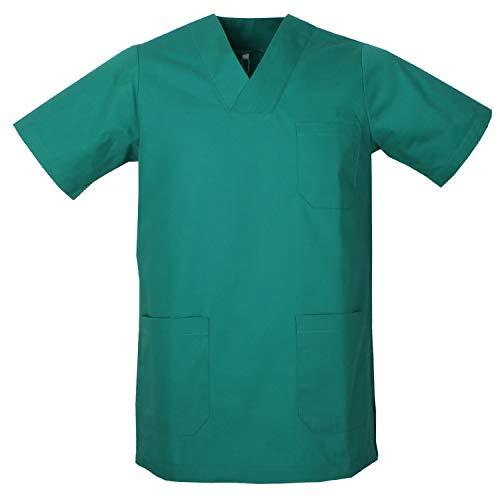 MISEMIYA - Casaca Unisex Cuello Pico Mangas Cortas Uniforme Laboral CLINICA Hospital Limpieza Veterinaria SANIDAD Médico Enferme - Ref.817 - L, Verde