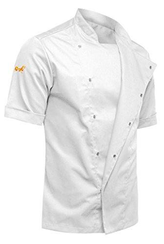 strongAnt® - Chaqueta Cocinero de Manga Corta. Uniforme de Chef Hombre. Ropa de Cocina - Hecho en EU - Blanco XL