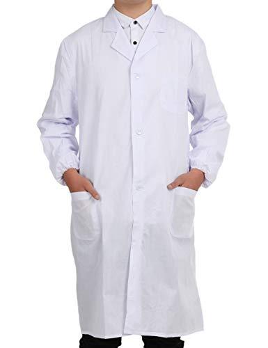 Bata Médico Laboratorio Enfermera Sanitaria de Trabajo Blanca de Manga Larga Unisex Blanco S