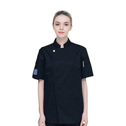 Dooxii Unisexo Mujeres Hombre Moda Verano Manga Corta Camisa de Cocinero Transpirable Chaquetas de Chef Uniforme Cocina Restaurante Occidental Negro 3XL