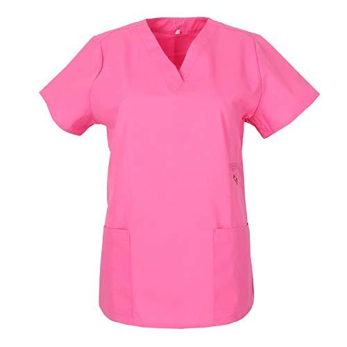 MISEMIYA - Casaca Mujer Mangas Cortas Uniforme Laboral CLINICA Estética Limpieza Veterinaria SANIDAD Dentista HOSTELERÍA Ref.707 - XS, Rosa